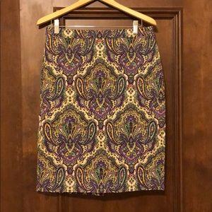 J. Crew paisley skirt size 10